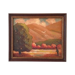 1960s Autumn Fields Oil Painting