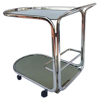Mid-Century Glass and Mirror Bar Cart