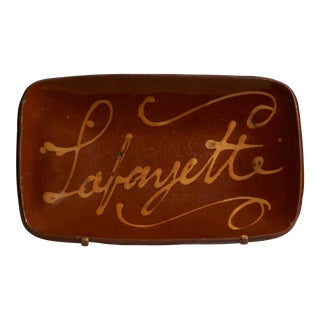 "Glazed Redware Loaf Dish Inscribed ""Lafayette"""