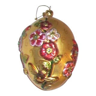 Vintage Blown Glass Gold Egg Ornament