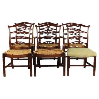 Chippendale Style Ribbon Back Mahogany Dining Chairs - Set of 6