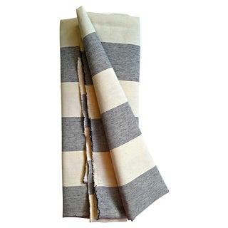 Cream & Blue Canvas Upholstery Fabric - 2 Yards
