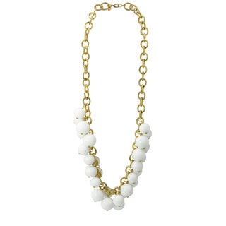 Kenneth Jay Lane White Bead and Gold Necklace