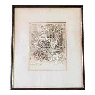 Vintage Bucks County, PA Pen & Ink Drawing