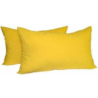 Yellow Rectangular Lumbar Pillows - a Pair