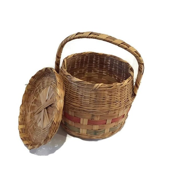 Vintage Mexican Hand Woven Lidded Basket - Image 5 of 6