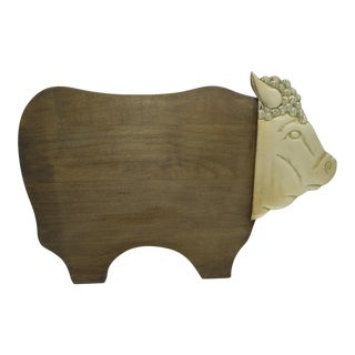 Brass Bull Head Wood Serving Tray