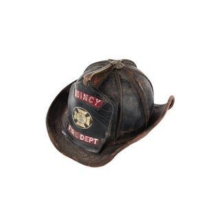 Quincy Fire Department Original Antique Firefighter Leather Helmet