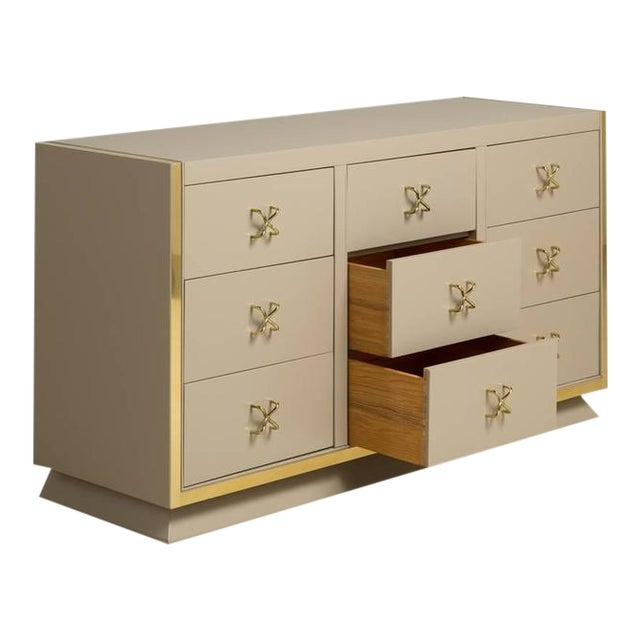 Unique Nine-Drawer Satin Lacquered Cabinet, 1950s - Image 1 of 8