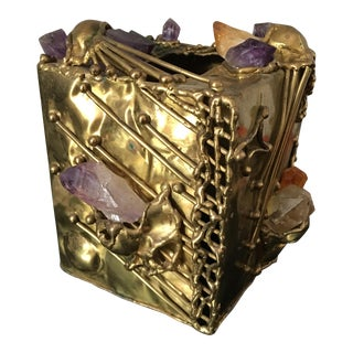 Vintage Brutalist Brass Amethyst Quartz Tissue Holder