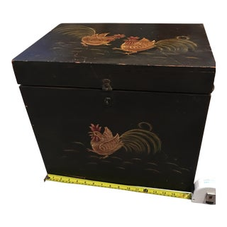 Wooden Painted Rooster Chest