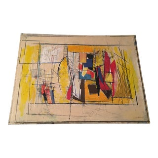 Ronald Ahlstrom 70s Abstract Mixed Media Collage
