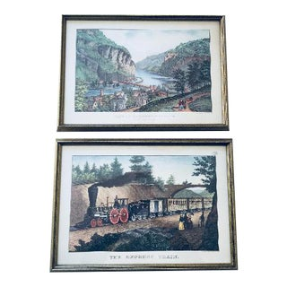 Pair of Framed Reproduction Hand-coloured Lithographs by Currier & Co.