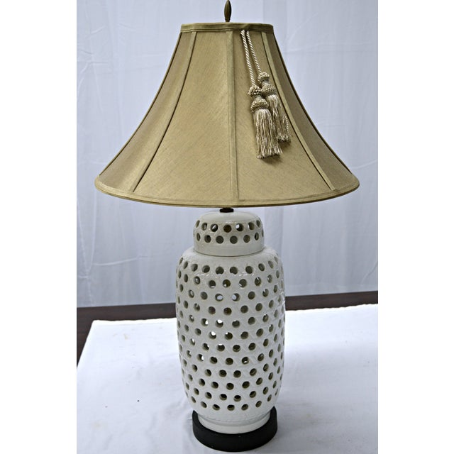 Mid-Century White Perforated Porcelain Table Lamp - Image 9 of 9
