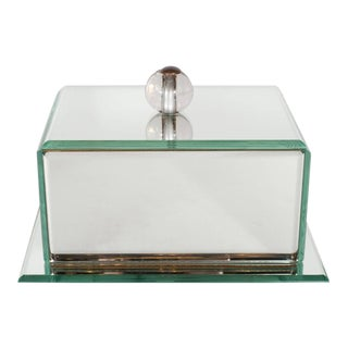 Elegant Art Deco Mirrored Glass Box with Round Beveled Edges and Glass Ball Pull