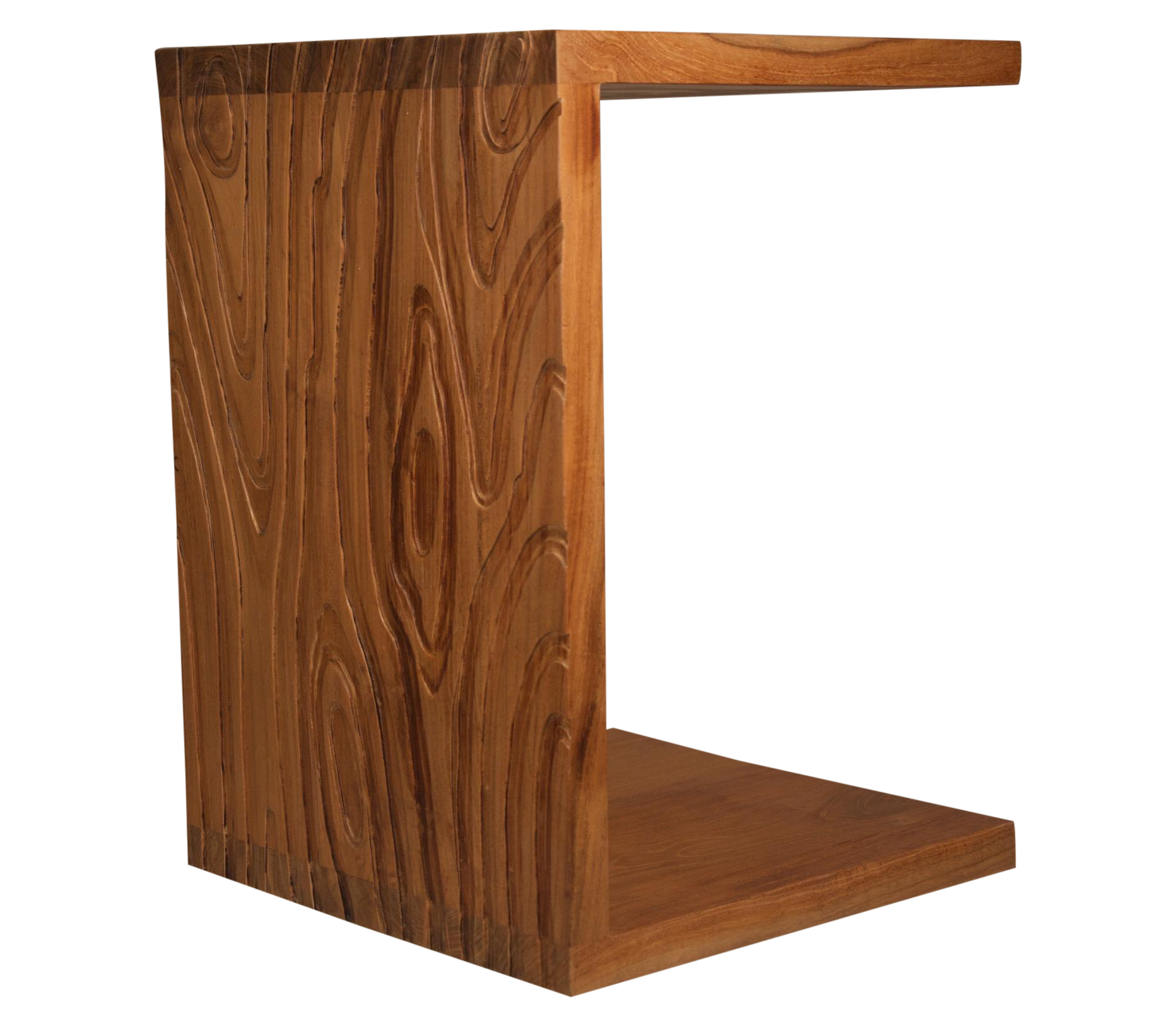 Delightful Solid Textured Teak C Shaped Side Table   Image 1 Of 3