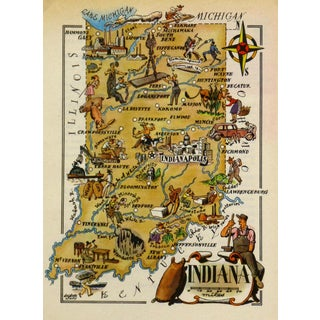 Vintage Indiana Pictorial Map, 1946