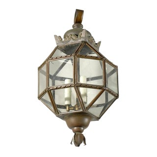 Vintage Italian Glass and Metal Lantern With Sphere and Ribbon with New Sleeves