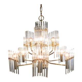 Sciolari Crystal Rod and Brass Chandelier