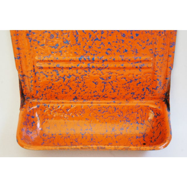 French Marbleized Enameled Utensil & Towel Rack - Image 4 of 7