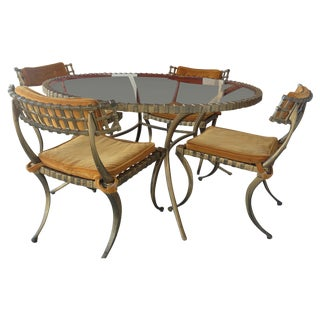 1960s Thinline Cast Aluminum Klismos Dining Set