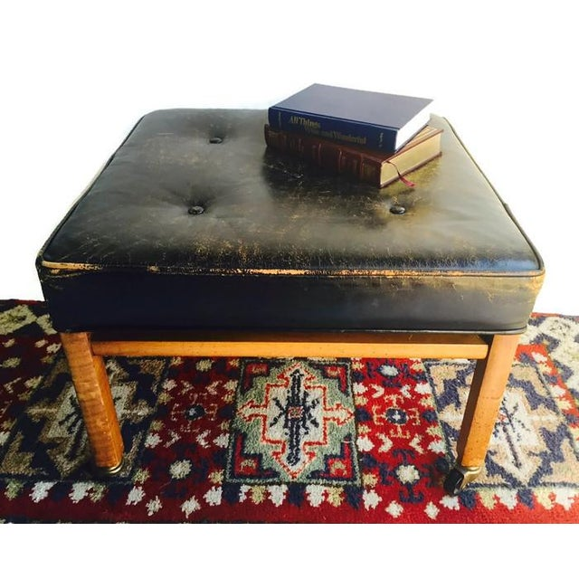 Image of Vintage Distressed Leather Ottoman Rolling Stool