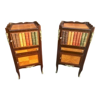 Louis XV/Regence French Faux Leather Book Side Tables or Commodes - A Pair