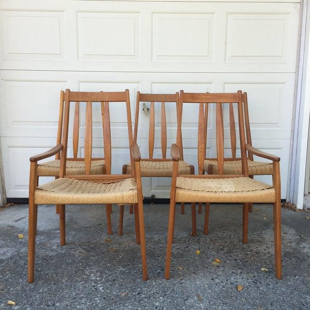 Danish Teak Dining Chairs W/Rope Seats - Set of 5 - Image 4 of 9
