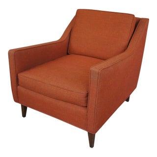 Milo Baughman Style Rust Wool Armchair