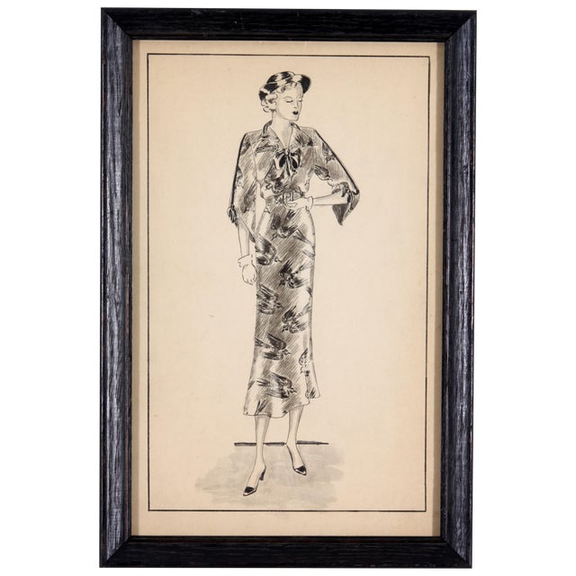 Framed Fashion Sketch - Image 1 of 5