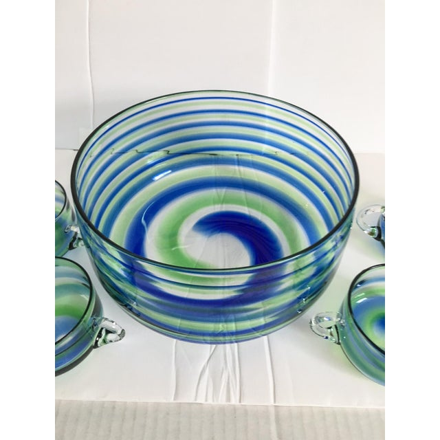 Mid-Century Artisanal Glass Swirl Punch Bowl Set - Set of 5 - Image 3 of 6