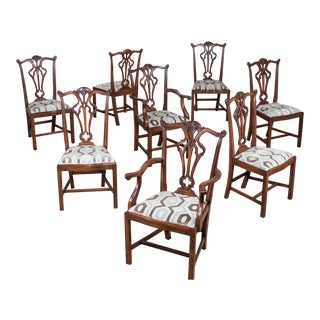 Set Eight George III Chippendale Style Mahogany Dining Chairs, Custom Stain Finish, England