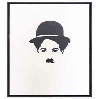 Large-Scale Oil on Board Painting of Charlie Chaplin in Black and White