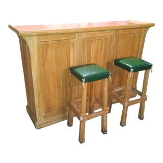Mid-Century A. Brandt Ranch Oak Dry Bar & Stools - Set of 3