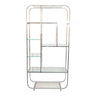 Curved Chrome and Glass Etagere Attributed to Design Institute of America