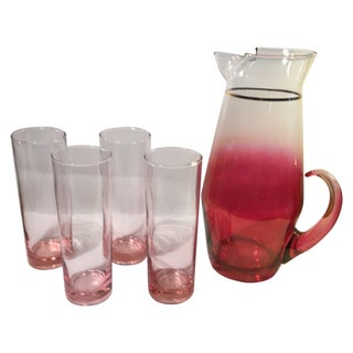 Vintage Blendo Pitcher And Glass Set - 5 Piece