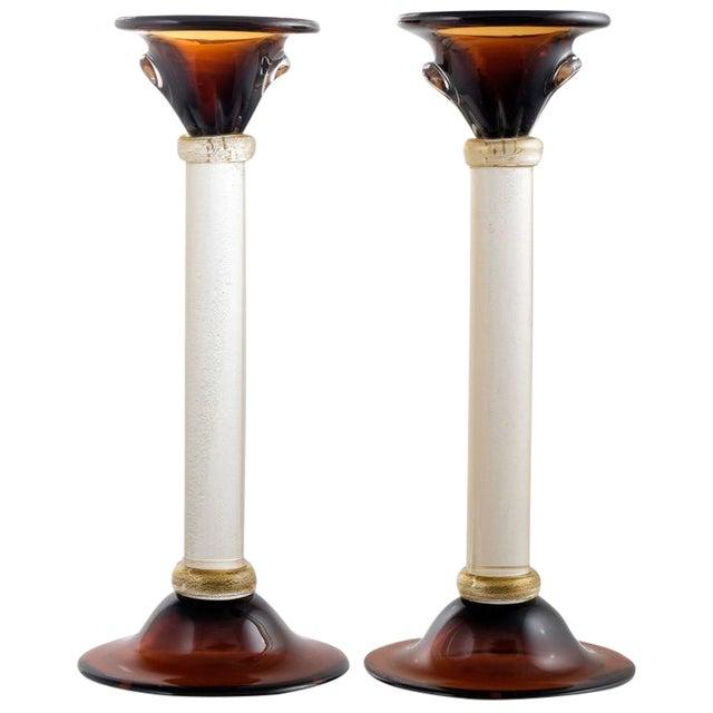 Murano Amber & Avventurina Glass Candlesticks- A Pair - Image 1 of 10