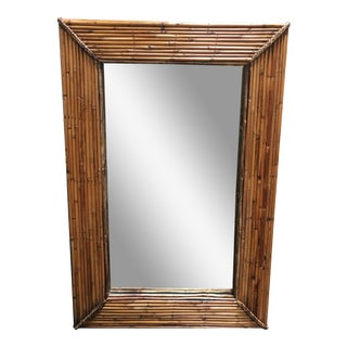 Vintage Bamboo Wrapped Wall Mirror