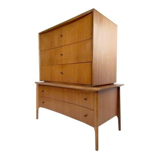 Sculpted Front Vintage Highboy Dresser