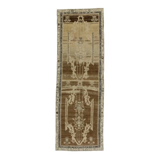Vintage Turkish Oushak Carpet Runner with Modern Style , 3'4 x 10'2