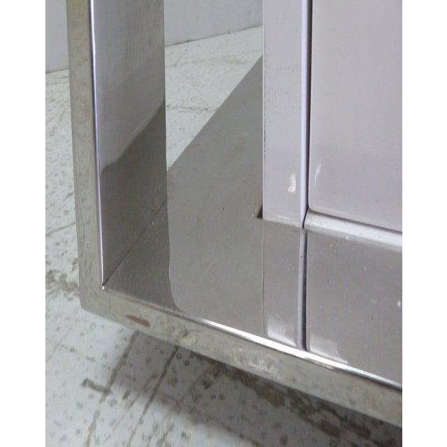 Image of Sleek Italian Lacquer & Chrome Credenza