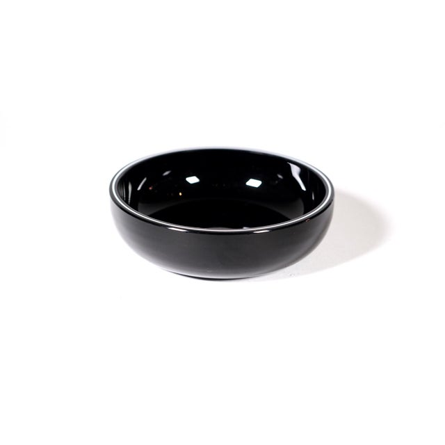 Image of White Stripe Decorative Black Bowl