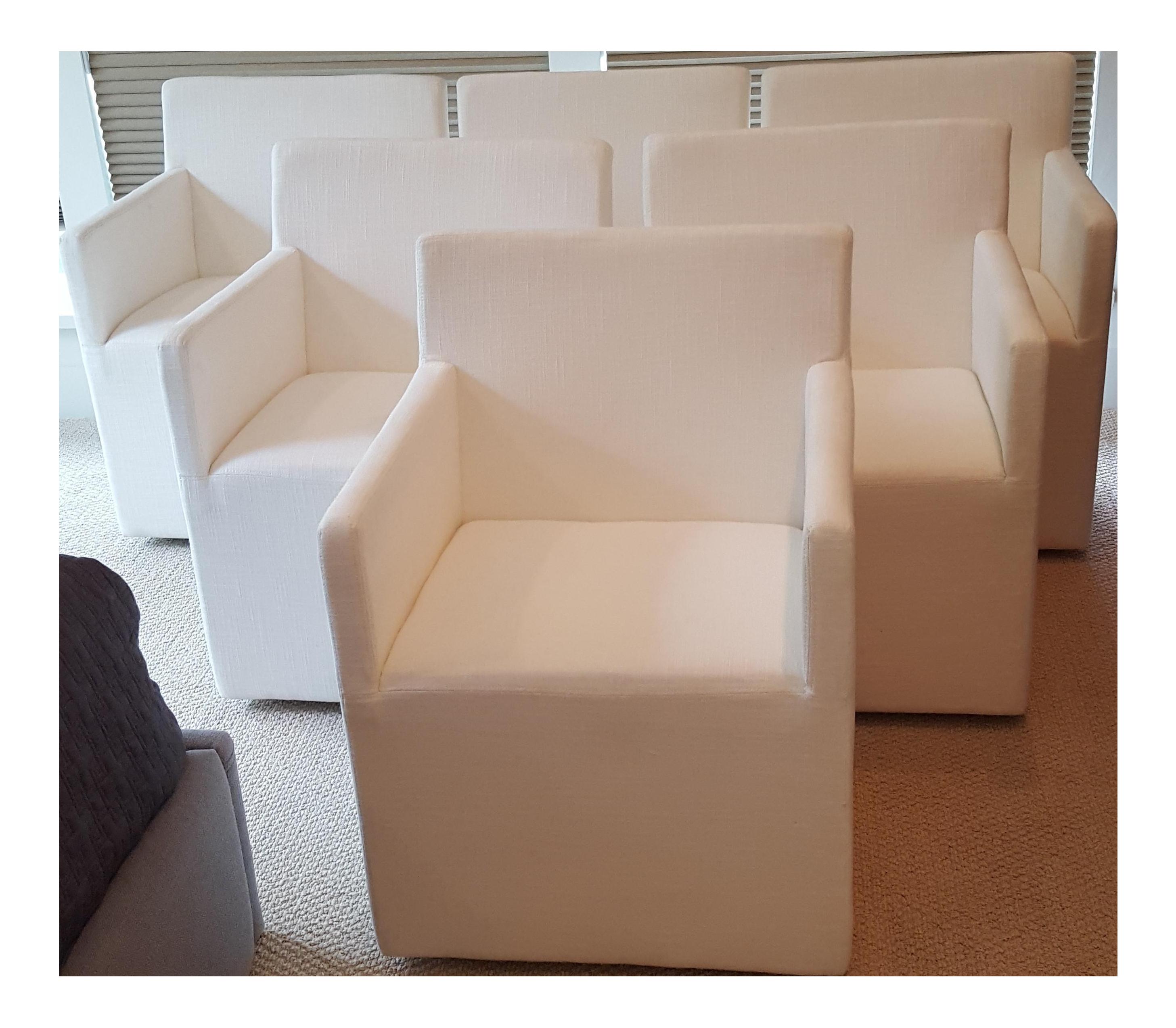 Restoration Hardware Modern New Ellison Track Arm Dining Chairs   Set Of 6