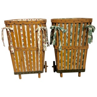 Antique 1920s Wood Baskets on Wheels