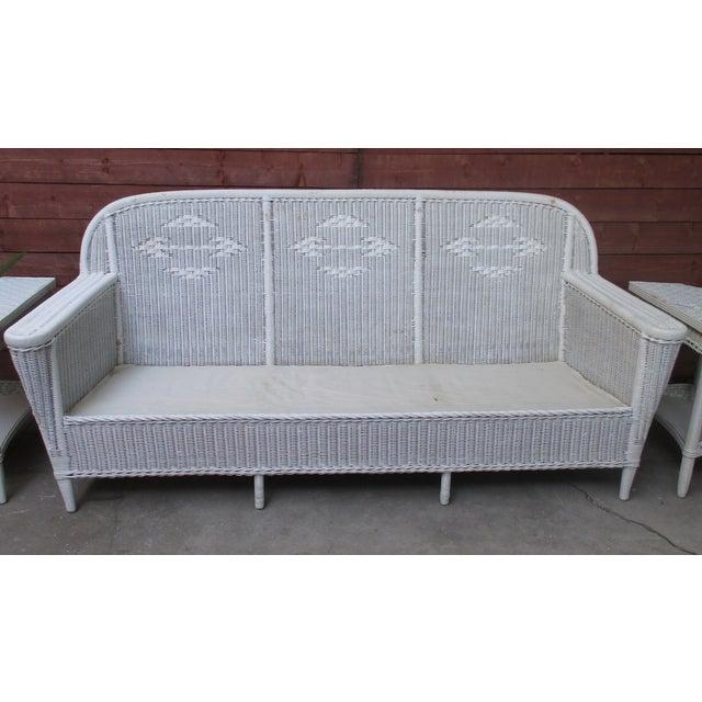 Vintage art deco style wicker sofa lloyd loom chairish for Art deco style sofa