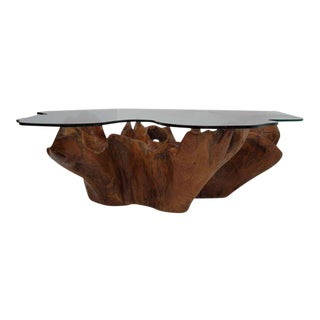 Stunning Vintage Teak Root Coffee Table with Custom Cut Glass Top