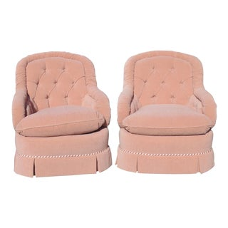 Baker Tufted Swivel Club Chairs - A Pair