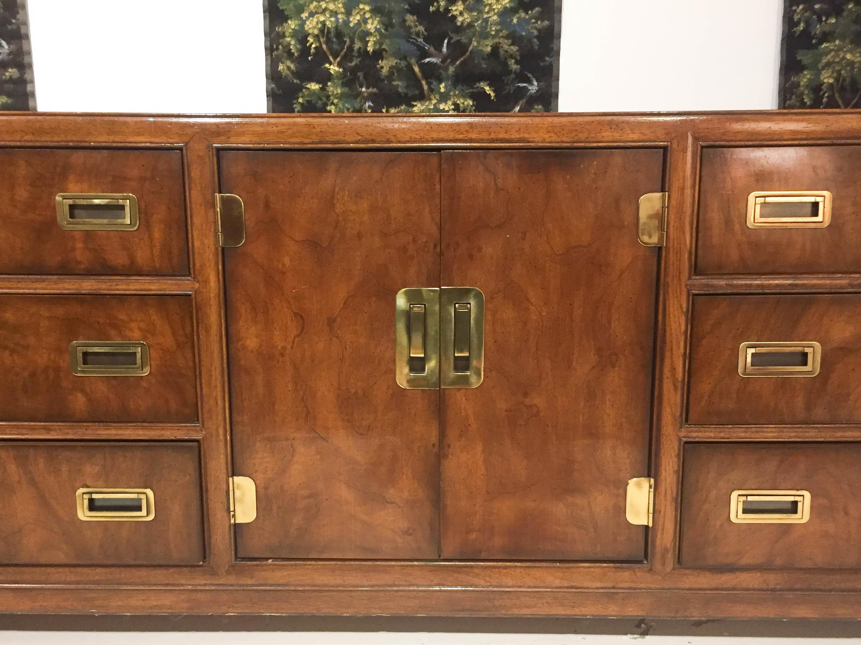 Mid Century Signed Drexel Heritage Campaign Chest Of