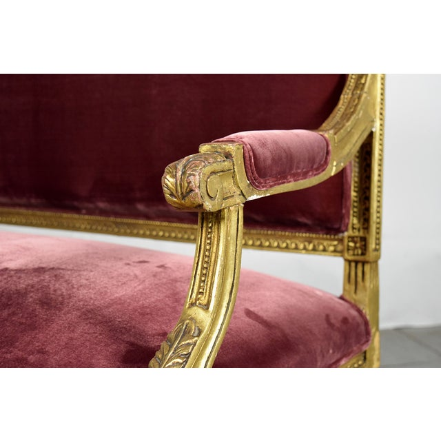 Vintage 1950s Louis XVI-Style Gilt Wood Sofa - Image 7 of 9