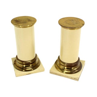 Pair of Brass and Lacquered Wood Pedestals